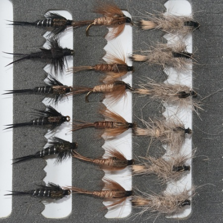 18 Nymphs Trout Fly fishing Flies GRHE, Pheasant Tail & Black Stonefly
