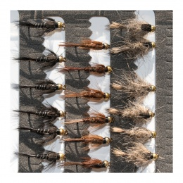 18 Gold Head Nymphs Trout Fly fishing Flies GRHE, Pheasant Tail & Black Nymph