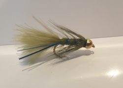 6 Blue flash damsel bead head short shank