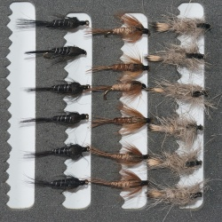18 Nymphs Trout Fly fishing Flies GRHE, Pheasant Tail & Black Nymph