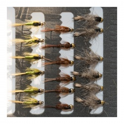 18 Gold Head Nymphs Trout Fly fishing Flies GRHE, Pheasant Tail & Pond Olive